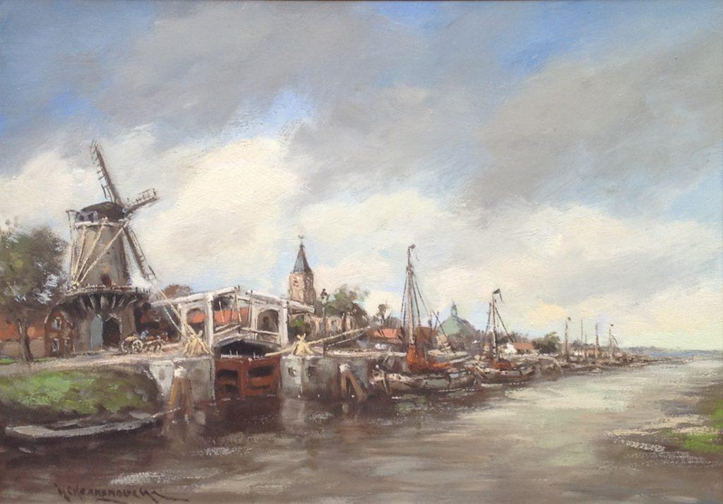 Schilderijen te koop van kunstschilder H.C. Kranenburg boten aan de stadskade olie op doek, doekmaat 50 x 70 cm linksonder gesigneerd, Expositie Galerie Wijdemeren Breukeleveen