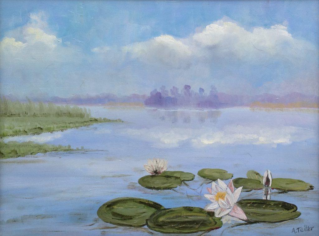 Kunstenaar Andre Tellier A8047 Andre Tellier Waterlelies olie op doek, 30 x 40 cm gesigneerd