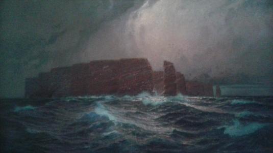 Kunstenaar Alexander Kircher A8048, Alexander Kircher Helgoland met Scheepswrak 110 x 200 cm