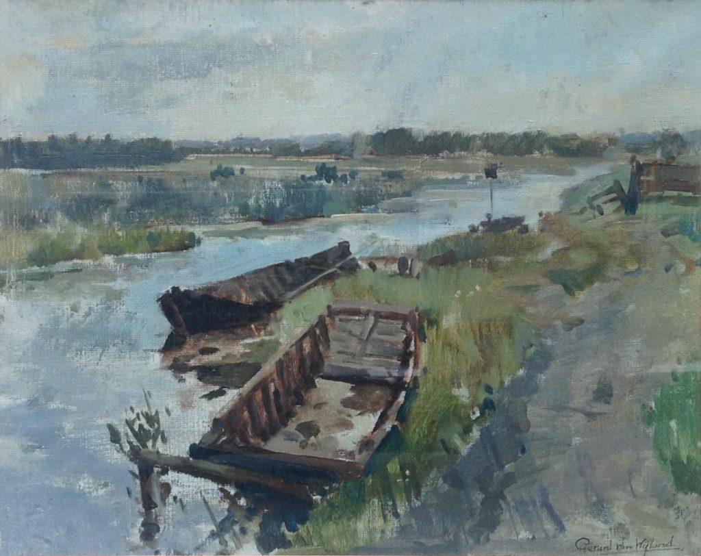 Kunstenaar Gerard van Wijland A8123, Gerardus van Wijland, aangemeerde bootjes in polderlandschap, olie op doek, doekmaat50 x 40 cm verkocht