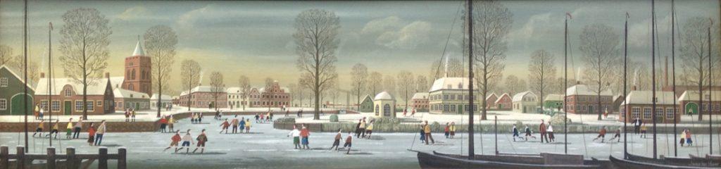 Kunstenaar Jaap ter Haar A8159, Jaap ter Haar Winter in Holland olie op paneel, 30 x 125 cm verkocht