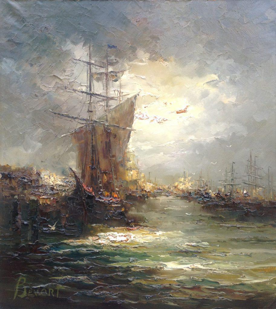 Schilderijen te koop van kunstschilder J. Bevort Havengezicht olie op doek, 100 x 90 cm linksonder gesigneerd, Expositie Galerie Wijdemeren Breukeleveen