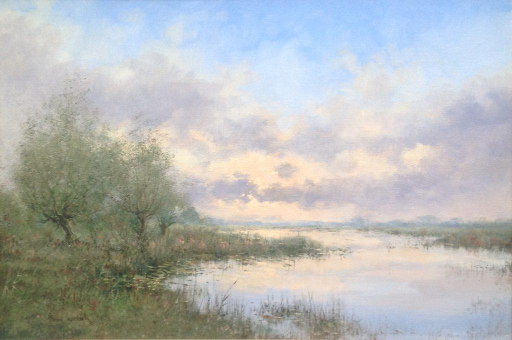 Kunstenaar Albert Wessels A8234, Albert Wessels Vinkeveen olie op doek, 40 x 60 cm particuliere collectie