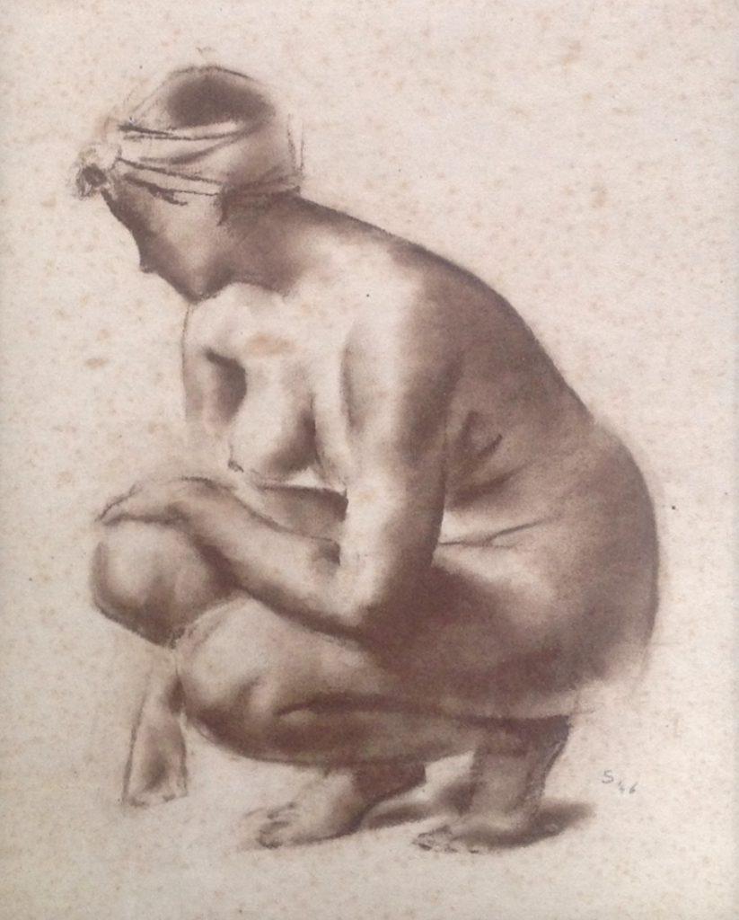 Schilderijen te koop, kunstschilder Sierk Schröder Krijt tekening, Expositie Galerie Wijdemeren Breukeleveen