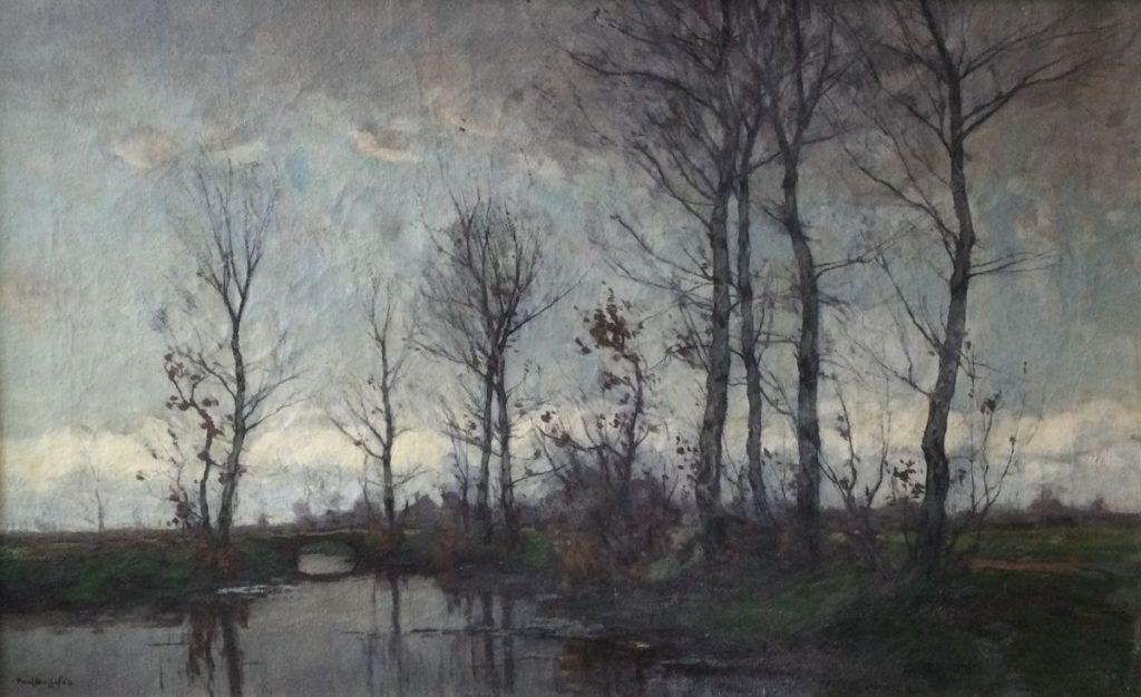 schilderijen te koop van kunstschilder, Paul Bodifée Polderlandschap olie op doek, doekmaat 46.5 x 75 cm linksonder gesigneerd, expositie, galerie wijdemeren breukeleveen
