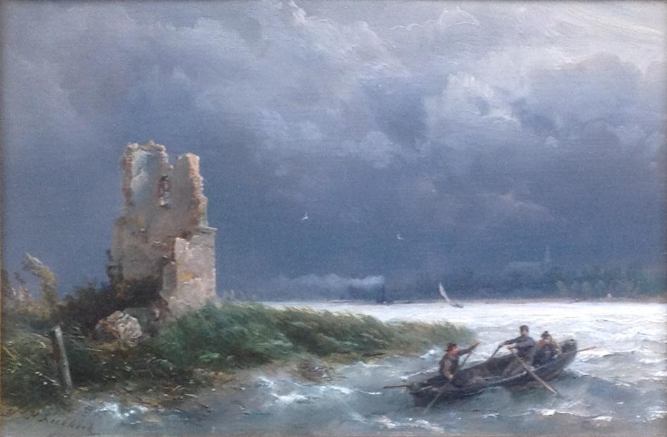 Kunstenaar Hermanus Koekkoek sr A8369, Hermanus Koekkoek sr 'Onstuimig weer op de rivier, met roeibootje en ruïne' Olie op paneel, Beeldmaat: 14,5 x 22 cm Verkocht