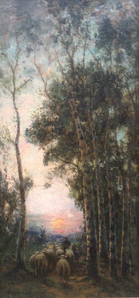 Schilderijen te koop van kunstschilder Gerard Bal Schaapsherder met kudde op bospad met ondergaande zon, Expositie Galerie Wijdemeren Breukeleveen