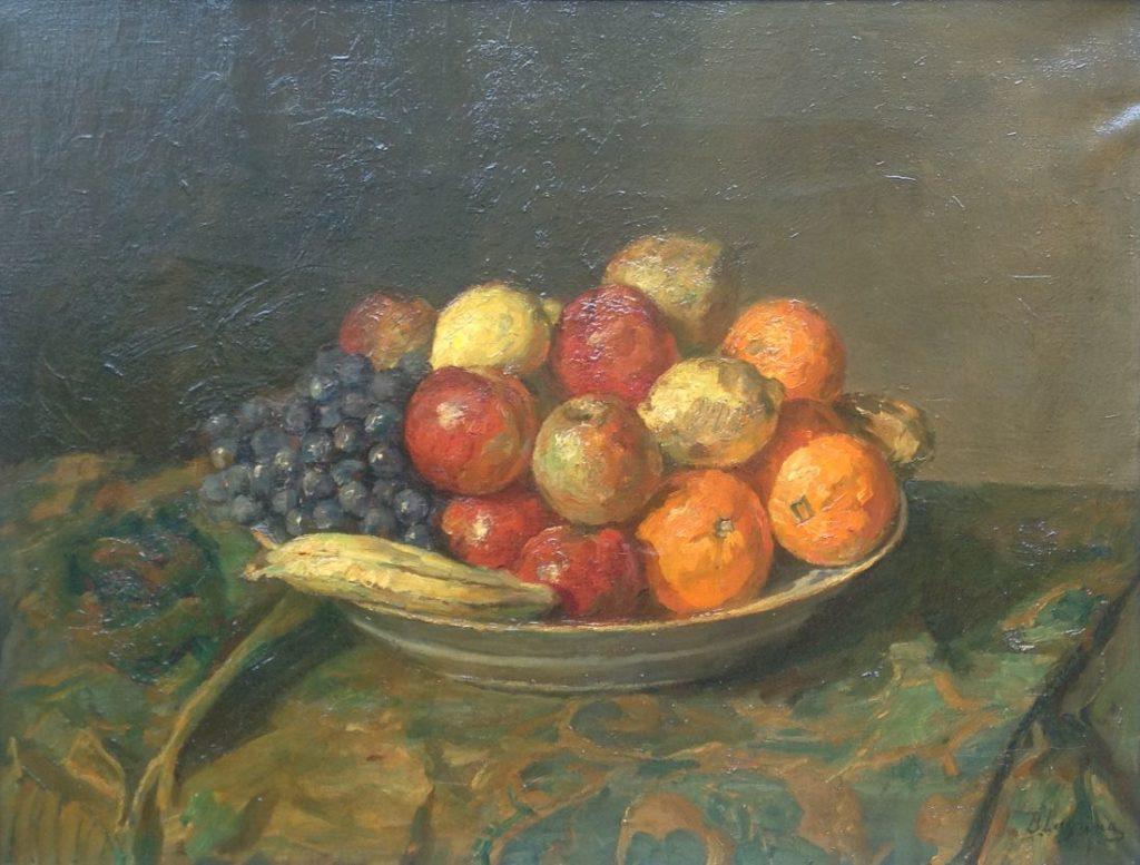 Schilderijen te koop van kunstschilder Baruch Laguna Stilleven met fruit olie op doek, gesigneerd, Expositie Galerie Wijdemeren Breukeleveen