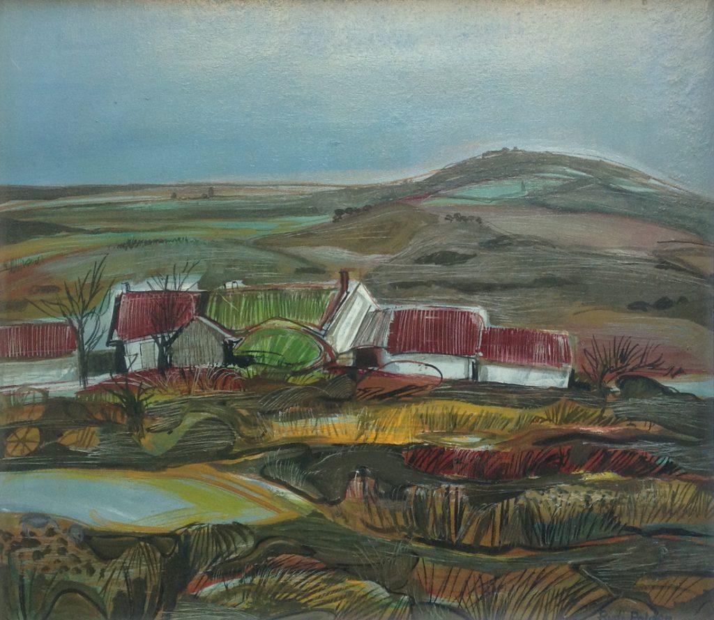 Schilderijen te koop van kunstschilder Rudolph Christiaan Gerrit Polder Frans heuvellandschap acryl op board, boardmaat 61,5 x 72 cm rechtsonder gesigneerd, Expositie Galerie Wijdemeren Breukeleveen