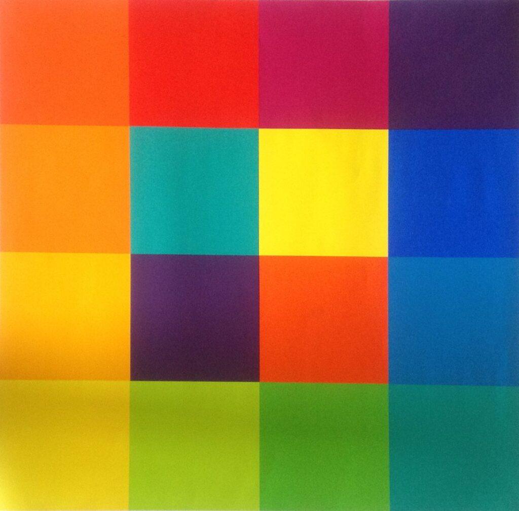 Kunstenaar Richard Paul Lohse A8423, Richard Paul Lohse Gekleurde vlakken particuliere collectie
