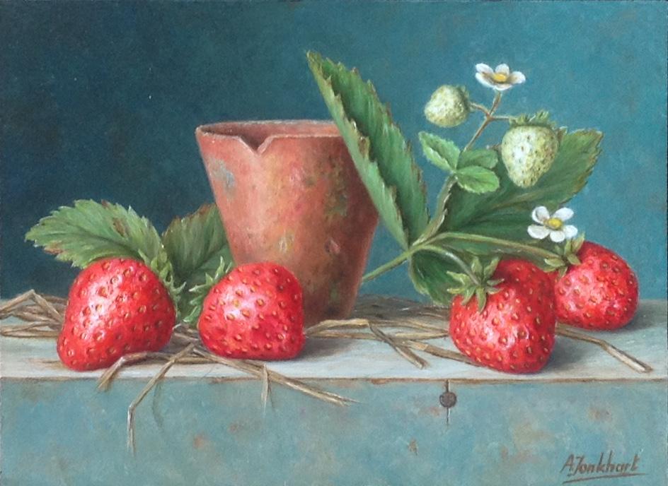 A8478 Annelies Jonkhart Hollandse aardbeien verkocht, te koop bij Galerie Wijdemeren Breukeleveen, schilderijen, expositie