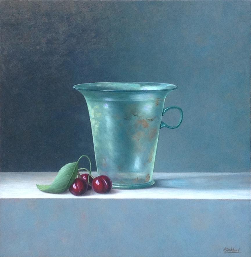 A8482 Annelies Jonkhart Romeins glas, modiolus verkocht, te koop bij Galerie Wijdemeren Breukeleveen, schilderijen, expositie