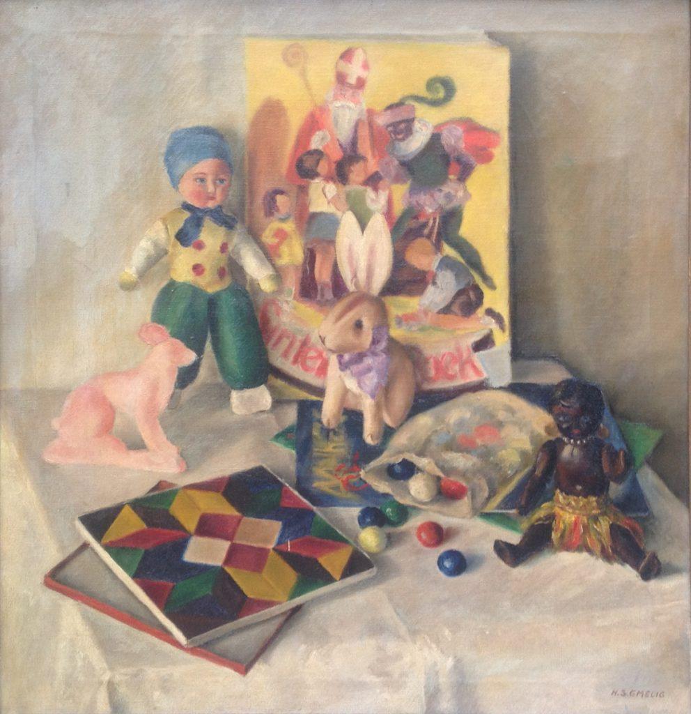 Kunstenaar Hermina Sophia Gmelig A8511, H.S. Gmelig Stillven met kinderspeelgoed olie op doek r.o. gesigneerd verkocht