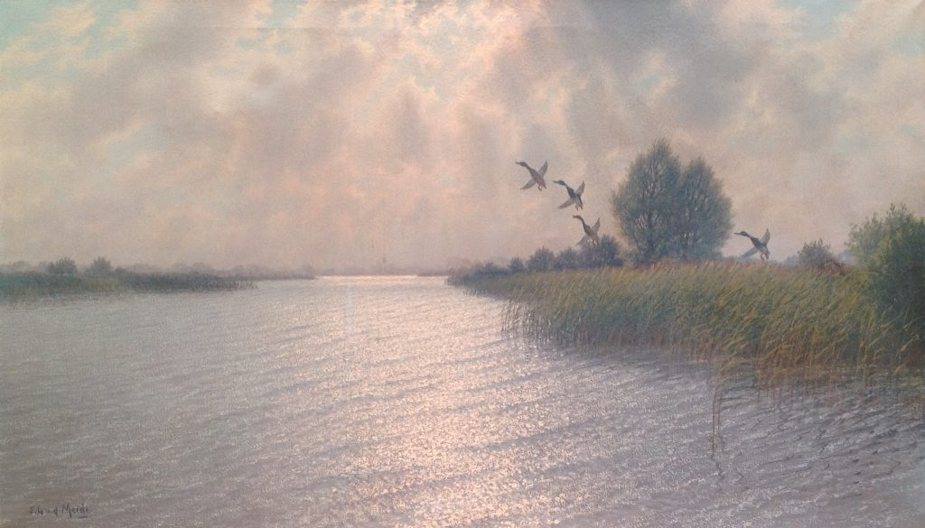 Schilderijen te koop van kunstschilder J.L. van der Meide Molenlandschap Rottemeren olie op doek, gesigneerd, Expositie Galerie Wijdemeren Breukeleveen