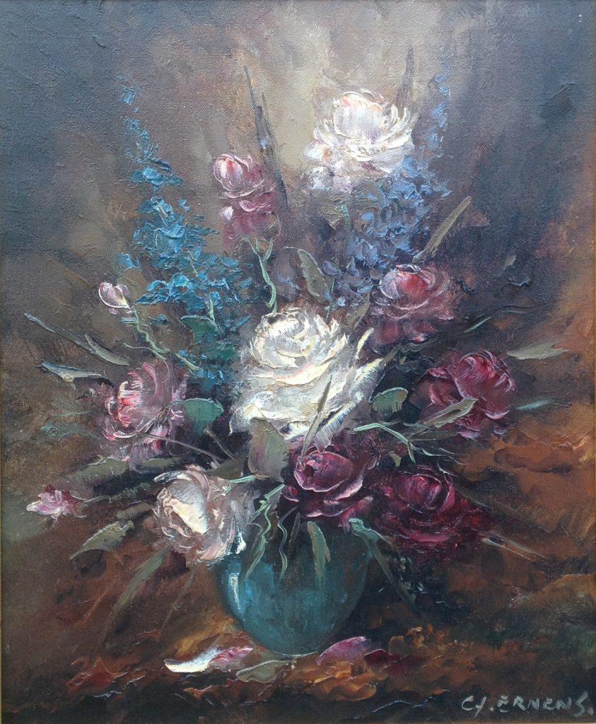 Schilderijen te koop van kunstschilder G.J. Ernens Bloemstilleven olie op doek, gesigneerd, Expositie Galerie Wijdemeren Breukeleveen