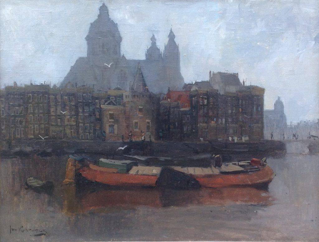 Schilderijen te koop van kunstschilder Jan Korthals Aan de Amsterdamse grachten, Expositie Galerie Wijdemeren Breukeleveen