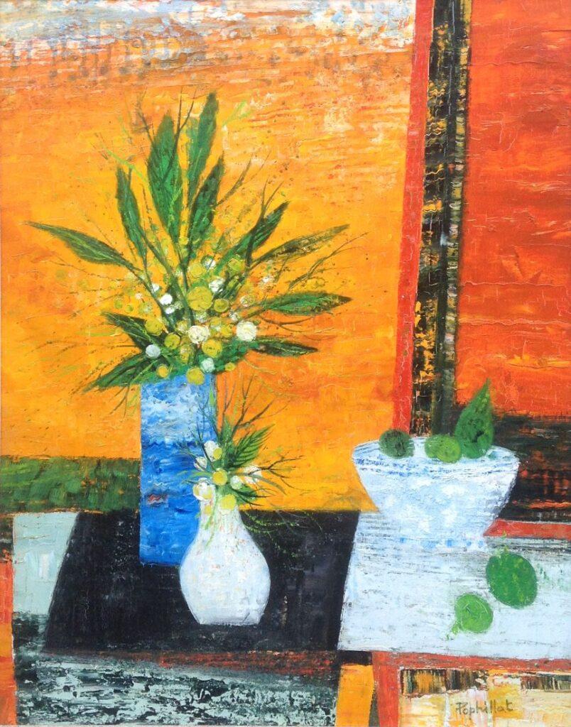 Kunstenaar Jean-Pierre Pophillat A8713-2, Jean-Pierre Pophillat Stilleven 50x65cm, olie op doek