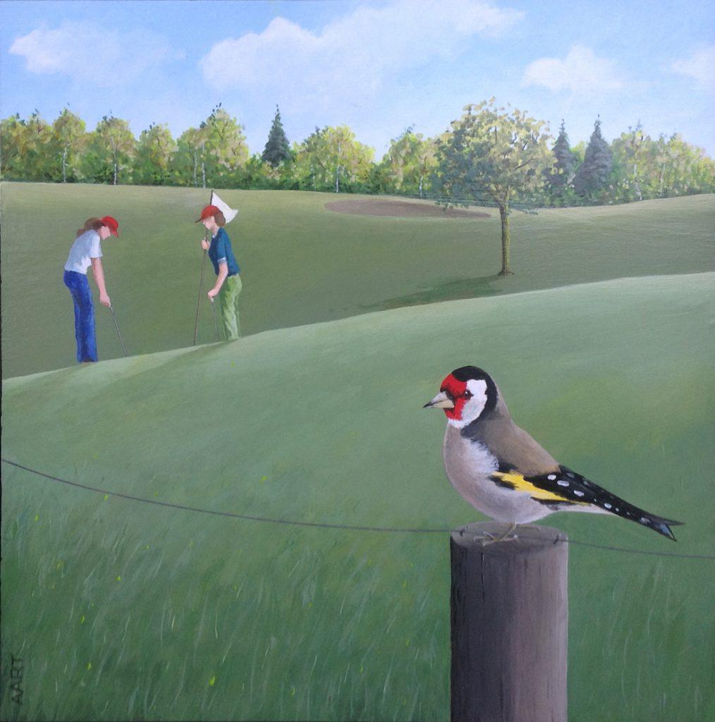 schilderijen te koop van kunstschilder, Aart Kessel Mannetjesputter acryl op paneel, paneelmaat 30 x 30 cm linksonder gesigneerd, expositie, galerie wijdemeren breukeleveen