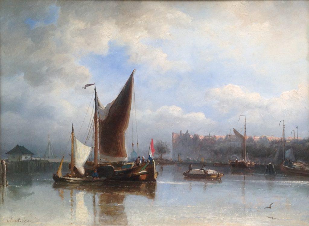 Schilderijen te koop van kunstschilder Nicolaas Riegen Beurtschepen bij het Noordereiland te Amsterdam olie op paneel, 31,5 x 41,5 cm, Expositie Galerie Wijdemeren Breukeleveen