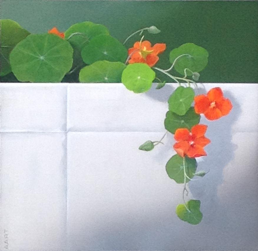 Kunst te koop bij Galerie Wijdemeren van kunstschilder Aart Kessel Oostindische kers acryl op paneel, 30 x 30 cm particuliere collectie