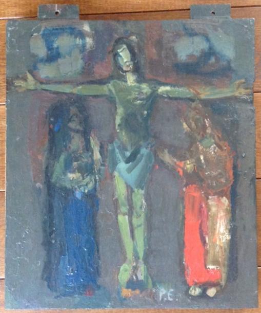 Kunstenaar Piet Engels A8976, Piet Engels 'Christus aan het kruis' Op hout geschilderd Gesigneerd P.E. Verkocht