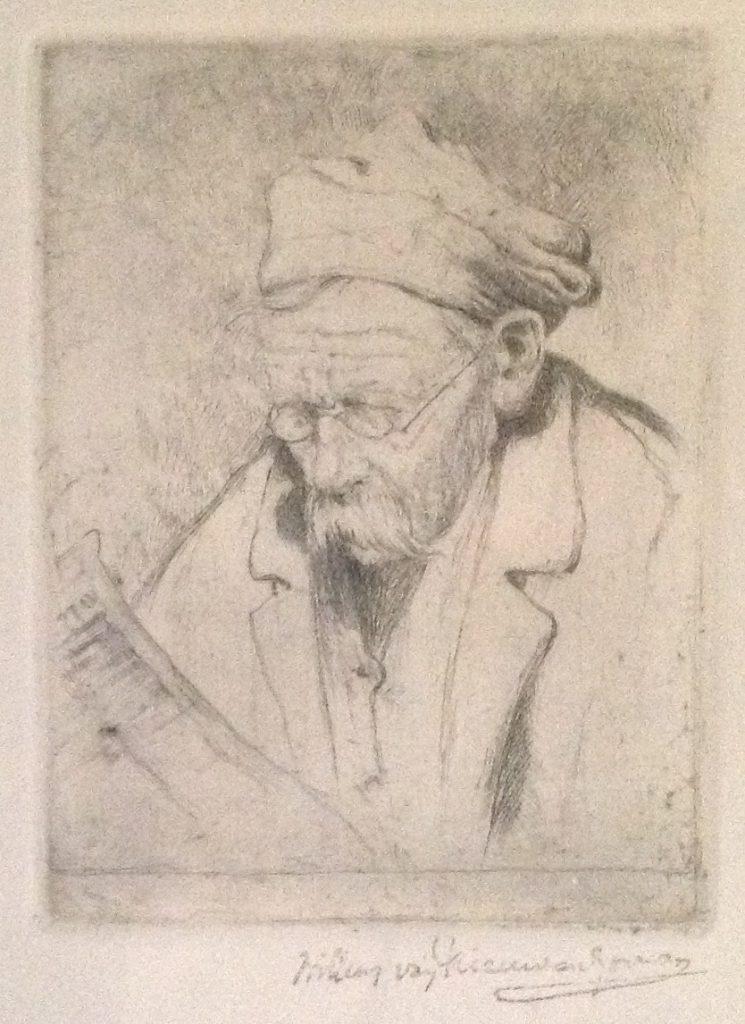 Schilderijen te koop, kunstschilder Willem van Nieuwenhoven portret van Mijnheer Dievenbach ets, beeldmaat 15.5 x 11.5 cm rechtsonder handgesigneerd, expositie Galerie Wijdemeren Breukeleveen