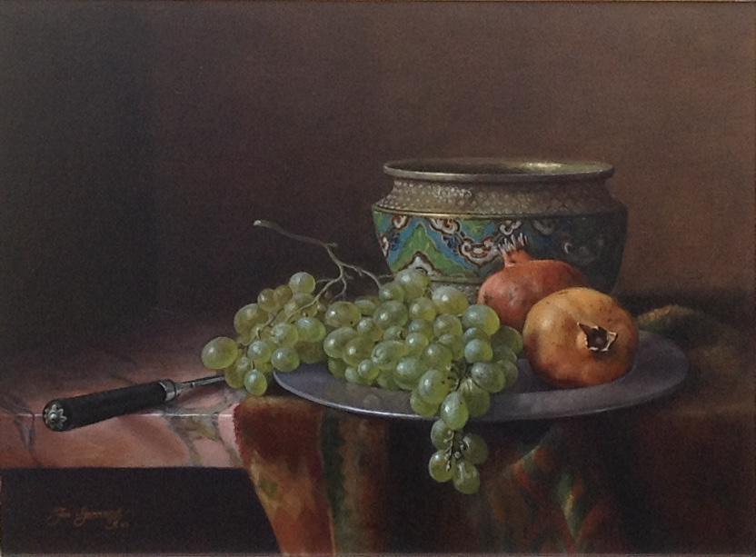 Kunstenaar Jos Aanraad A9050 Jos Aanrand Stilleven met druiven Olie op paneel, paneelmaat 30 x 40 cm linksonder gesigneerd en gedateerd particuliere collectie