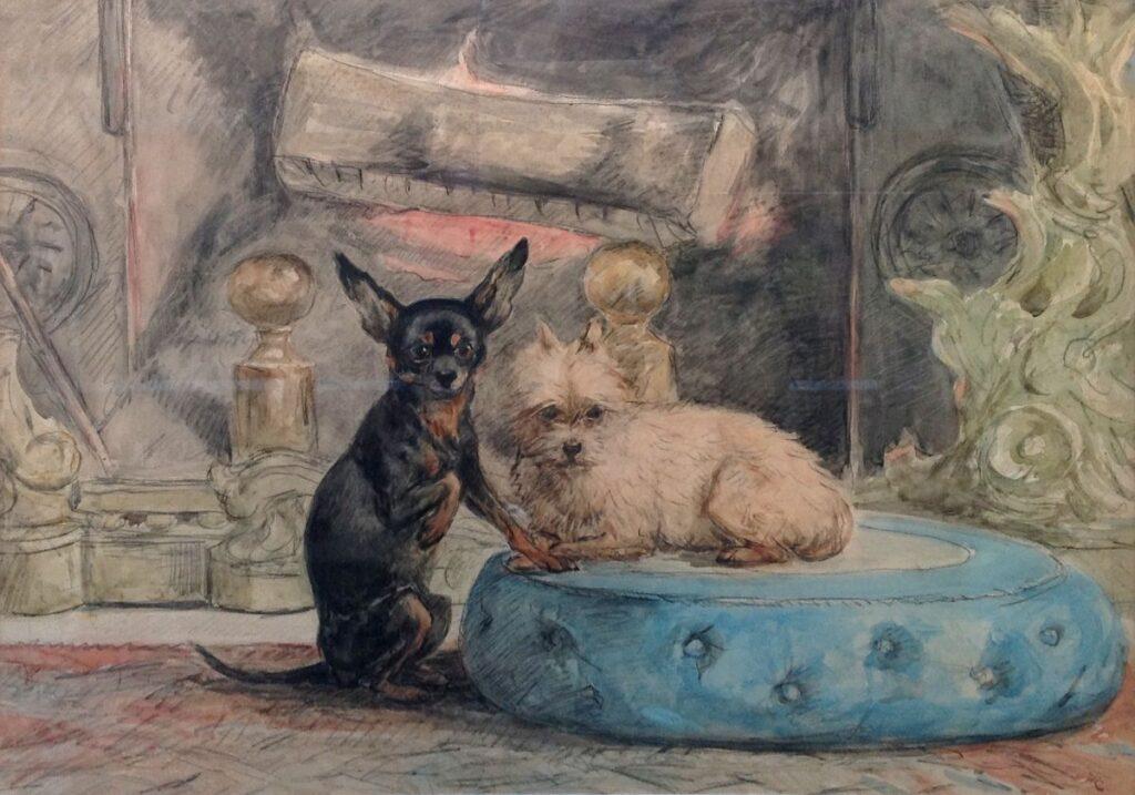 Kunstenaar Henriette Ronner-Knip A9053, Henriette Ronner Knip portret van de hondjes van Marie-Henriette, koningin van België aquarel, beeldmaat, 54 x 77 cm