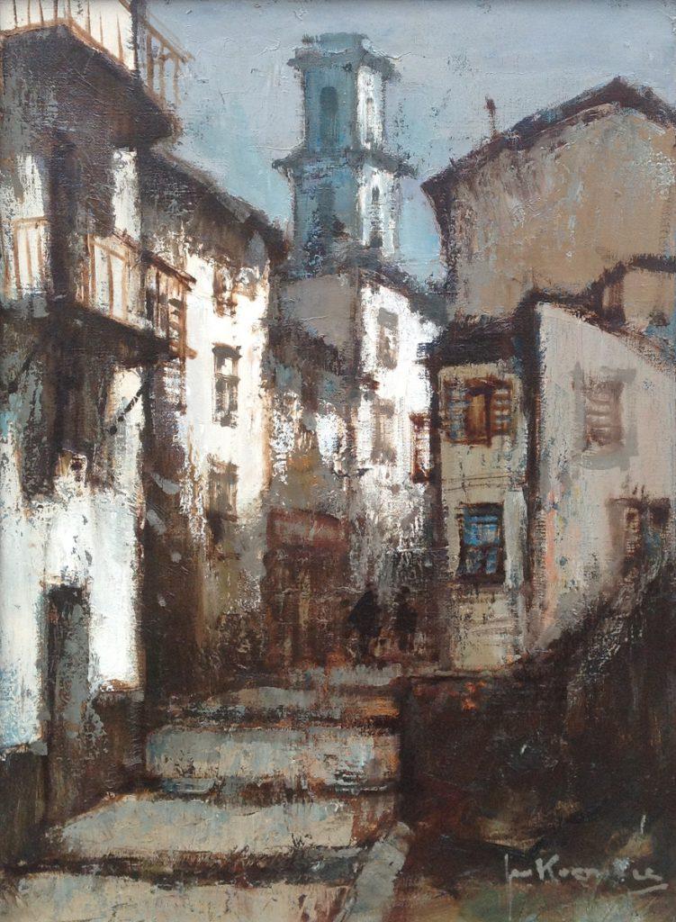 Schilderijen te koop, kunstschilder Jan Korthals Nice gouache, gesigneerd, expositie Galerie Wijdemeren Breukeleveen