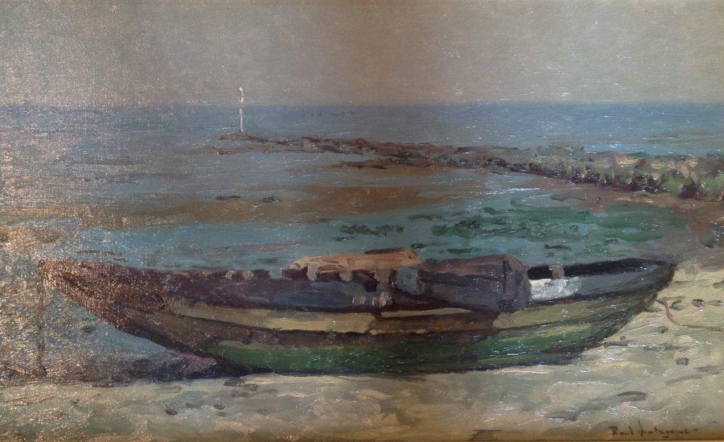 Kunstenaar Paul Arntzenius A9135 Paul Arntzentius Roeiboot, Oostvoorne olie op doek, 36 x 60 cm particuliere collectie