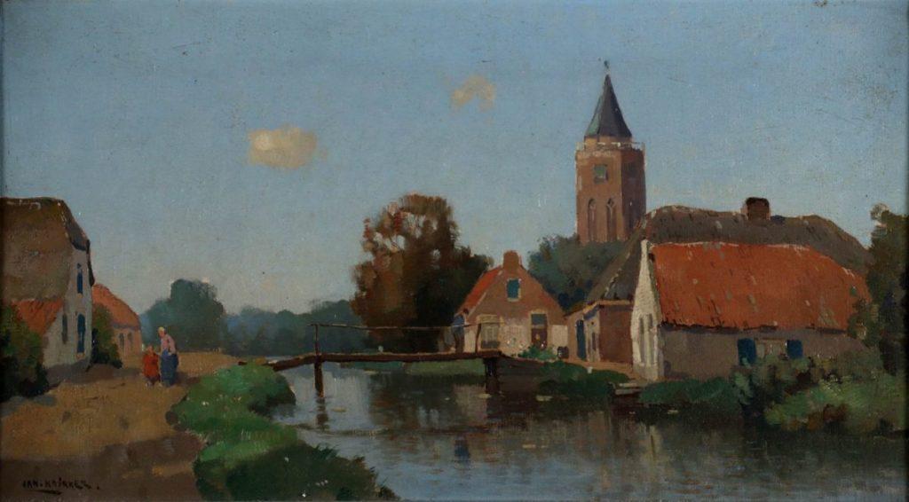 Schilderijen te koop, kunstschilder Jan Knikker Boerendorp met kerktoren olie op doek, 25,5 x 45,5 cm linksonder gesigneerd, expositie Galerie Wijdemeren Breukeleveen