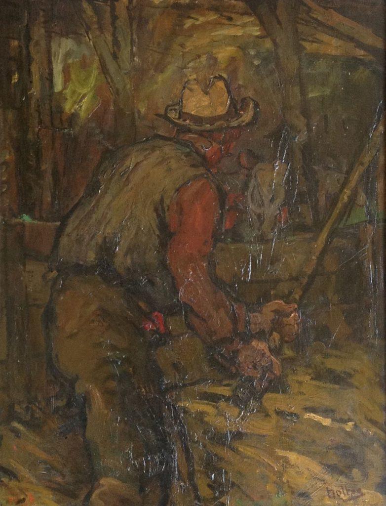 schilderijen te koop van kunstschilder, Cornelis Noltee Dorsende Boer Olie op doek, gesigneerd, expositie, galerie wijdemeren breukeleveen