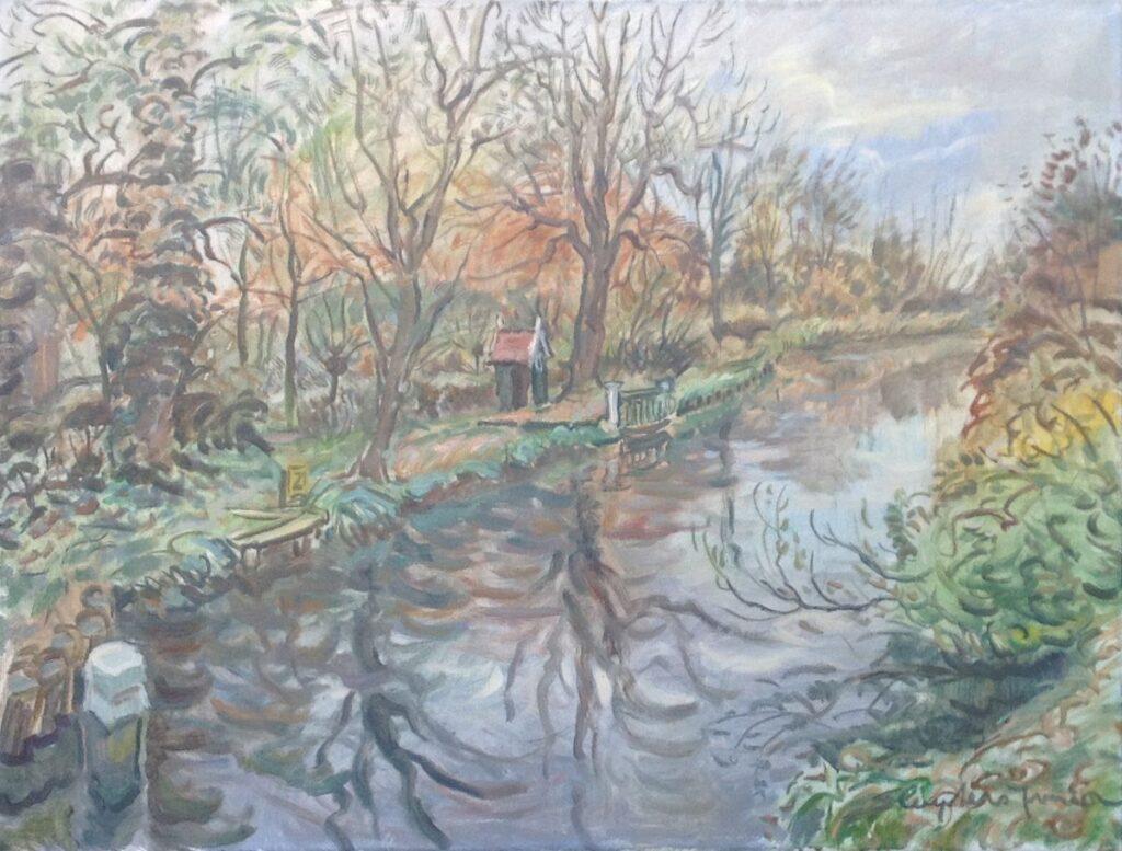 Kunstenaar Jan Sluijters jr. A9202, J. Sluyters jr. Buitenplaats Donkervliet Olie op doek, beeldmaat: 60 x 80 cm