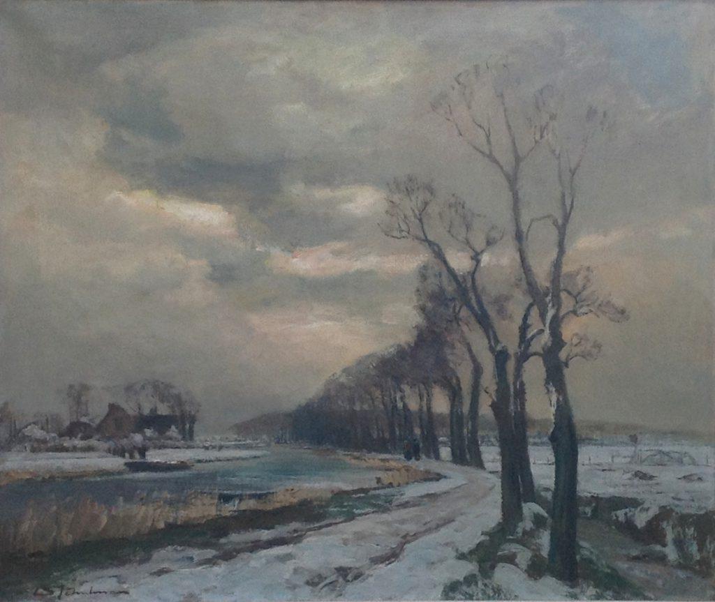 Kunstenaar David Schulman A9203 David Schulman Winters landschap met landweg aan vaart,