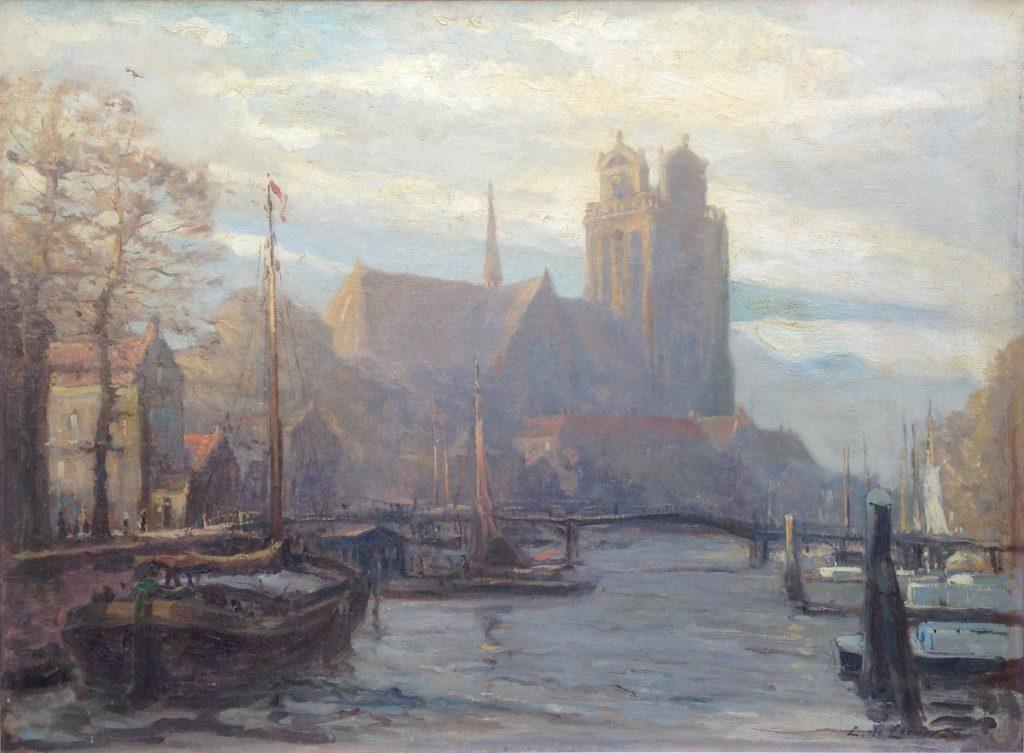 Kunstenaar Louis de Leeuw A9297, L. de Leeuw Dordrecht olie op doek, 47,5 x 65 cm