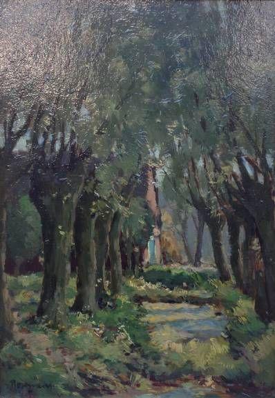 Schilderijen te koop van kunstschilder A.C. Rosemeier bosbeekje olie op paneel, paneelmaat 33 x 22 cm gesigneerd linksonder, Expositie Galerie Wijdemeren Breukeleveen