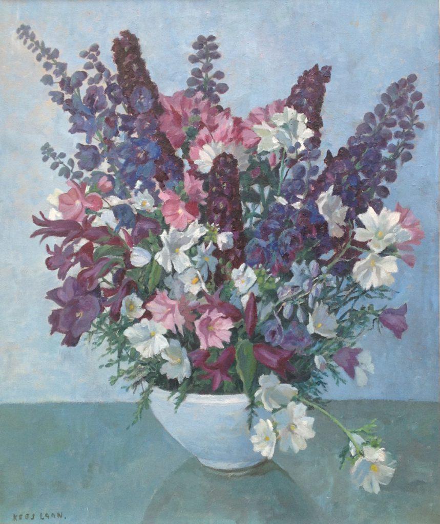 schilderijen te koop van kunstschilder, Kees Laan Bloemstilleven Olie op doek, doekmaat 70 x 60 cm linksonder gesigneerd, expositie, galerie wijdemeren breukeleveen
