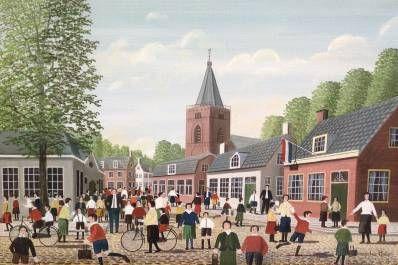 Schilderijen te koop van kunstschilder Jaap ter Haar Schoolgang olie op doek, 30 x 45 cm r.o. gesigneerd, Expositie Galerie Wijdemeren Breukeleveen