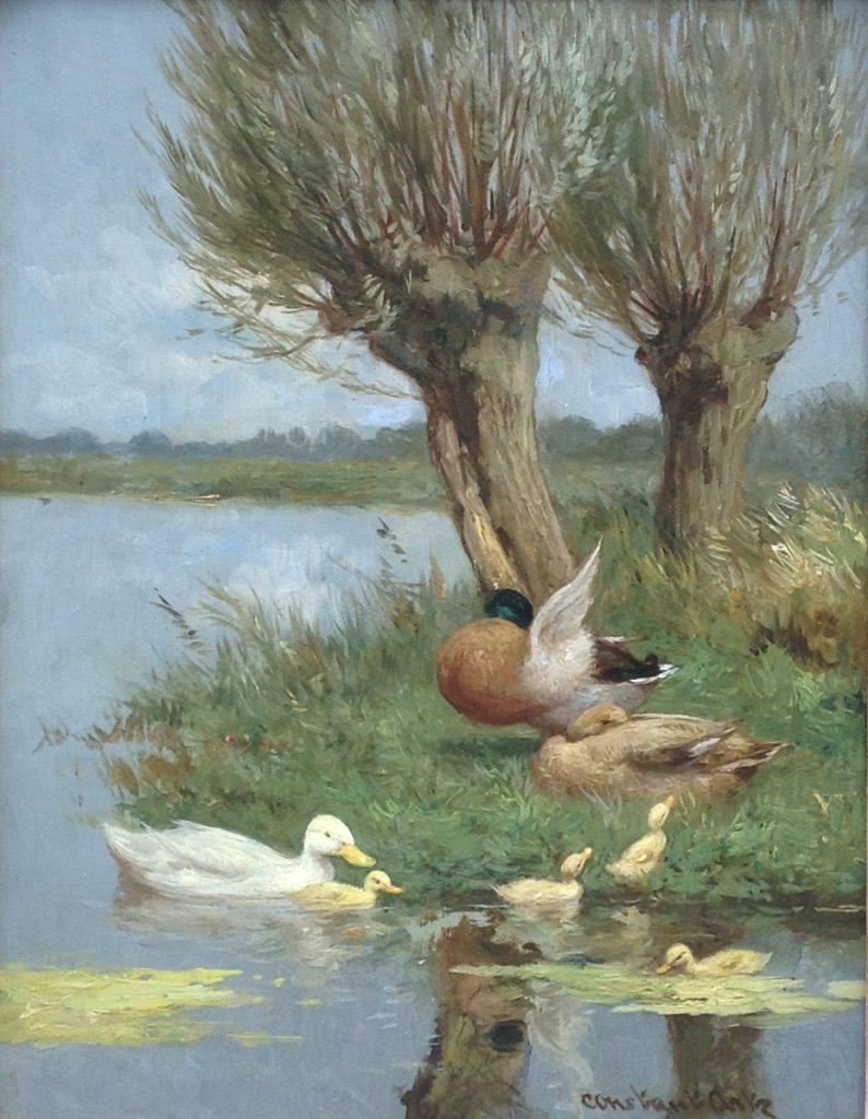Schilderijen te koop van kunstschilder Constant Artz Eendjes aan de waterkant olie op paneel, paneelmaat 24 x 18 cm gesigneerd, Expositie Galerie Wijdemeren Breukeleveen