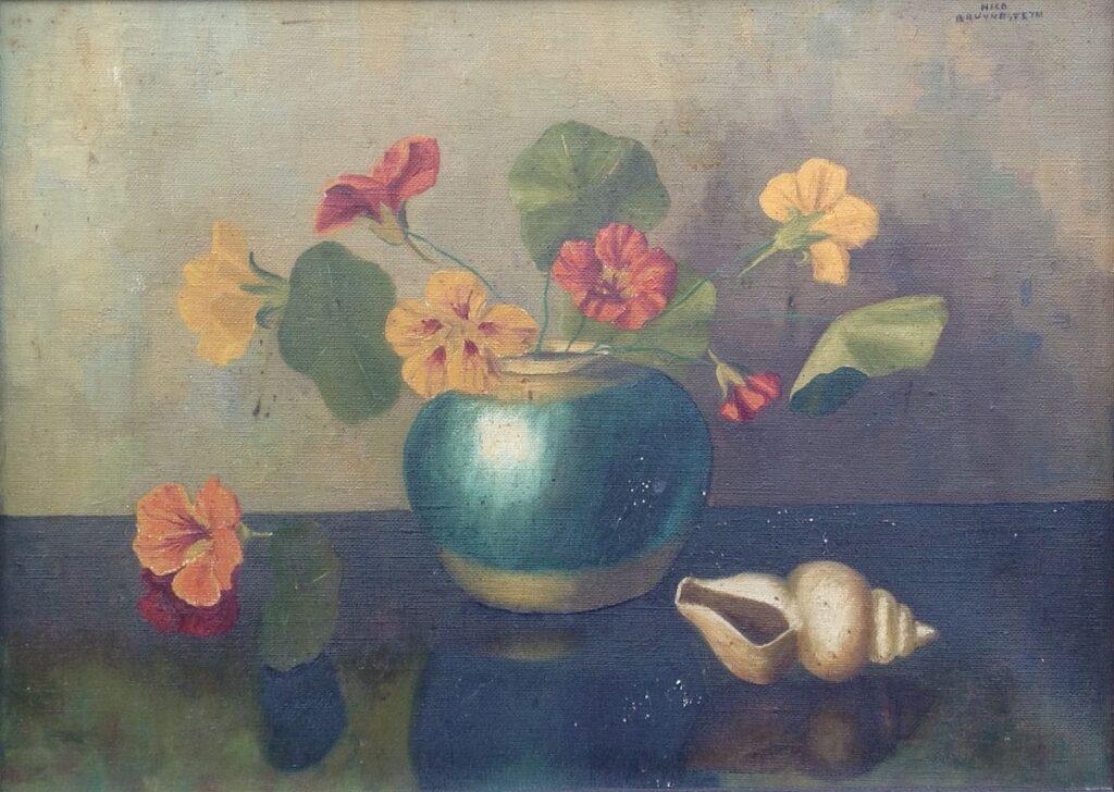 Schilderijen te koop van kunstschilder Nicolaas Bruijnesteijn Bloemstillevens olie op doek, doekmaat 30 x 41 cm rechtsboven gesigneerd, Expositie Galerie Wijdemeren Breukeleveen