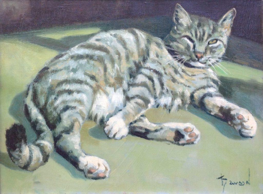 Schilderijen te koop, kunstschilder Klaas Zwaan Kat olie op doek, 30 x 40 cm gesigneerd, Expositie Galerie Wijdemeren Breukeleveen