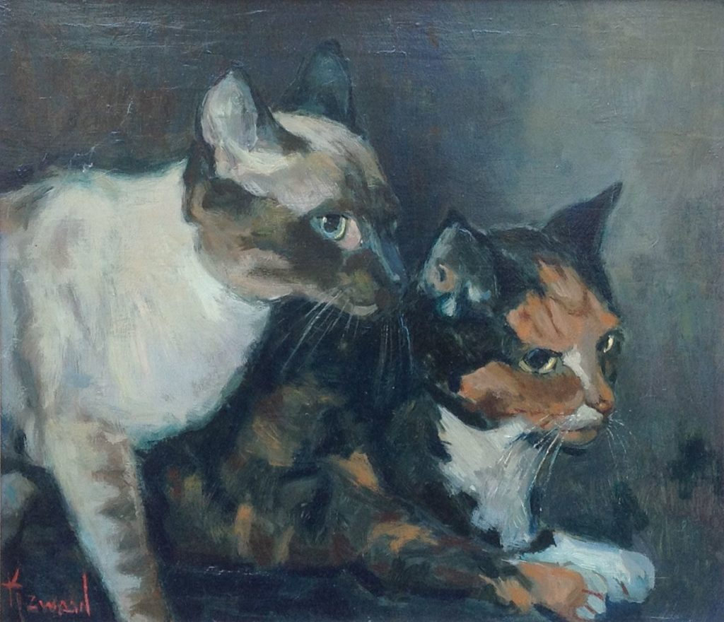 Schilderijen te koop, kunstschilder Klaas Zwaan 2 katten olie op doek, 30 x 35 cm gesigneerd, Expositie Galerie Wijdemeren Breukeleveen