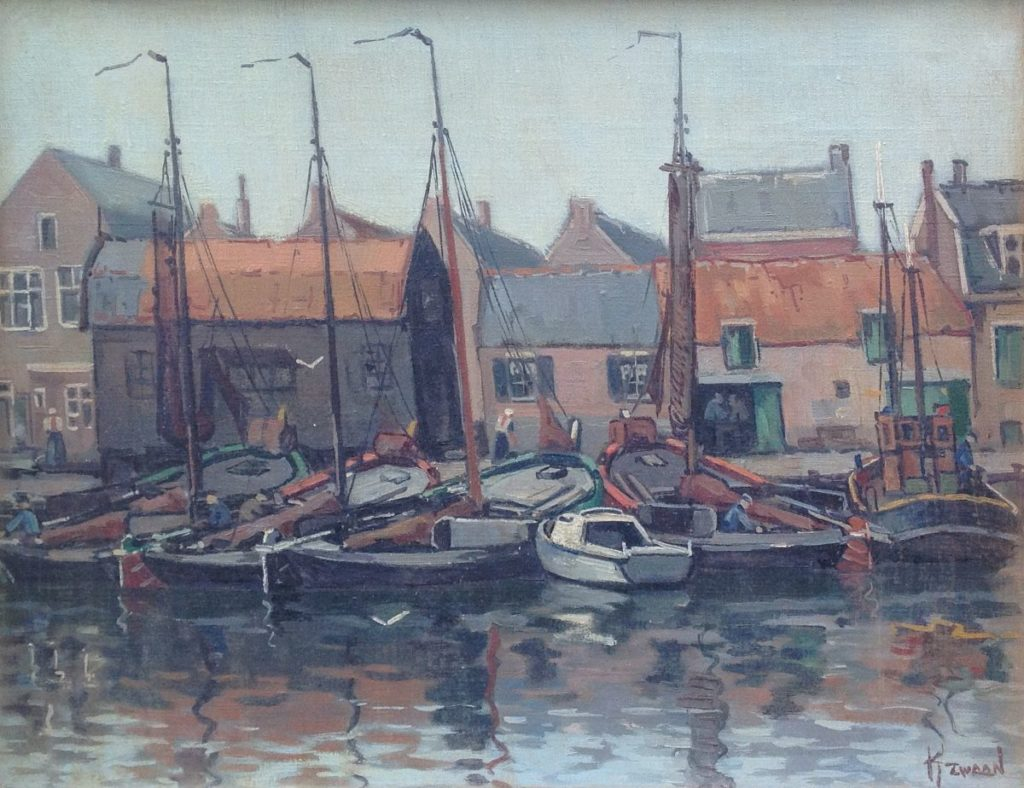 Schilderijen te koop, kunstschilder Klaas Zwaan Spakenburg olie op doek, 30 x 45 cm gesigneerd, Expositie Galerie Wijdemeren Breukeleveen