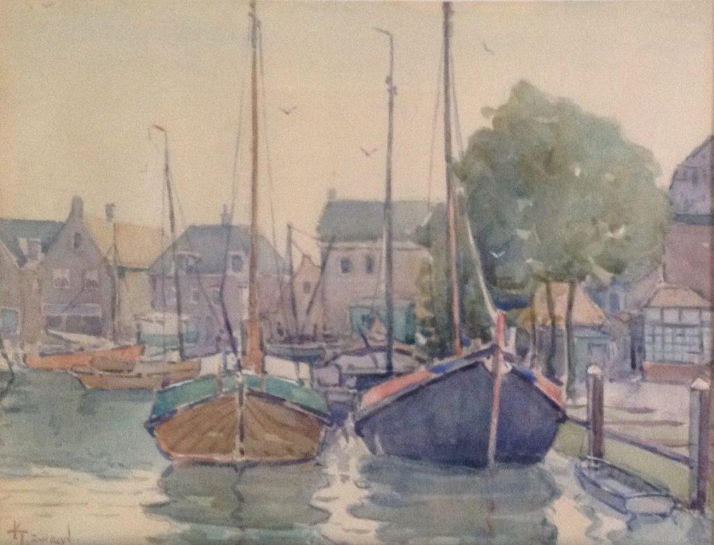 Schilderijen te koop, kunstschilder A9562 Klaas Zwaan Spakenburg aquarel particuliere collectie, Expositie Galerie Wijdemeren Breukeleveen