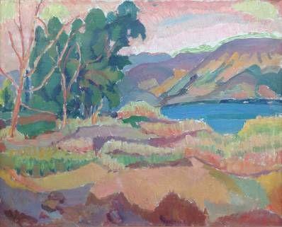 Kunstenaar Anna Maria Braakensiek A9563 Anna Maria Braakensiek-Dekker Kleurrijk berglandschap Olie op doek, 50 x 60 cm verkocht