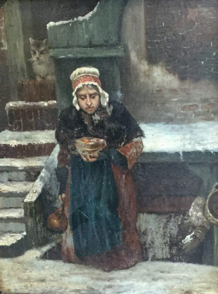 Schilderijen te koop, wintergezicht met dame olie op paneel, paneelmaat 26 x 21 cm, expositie Galerie Wijdemeren Breukeleveen