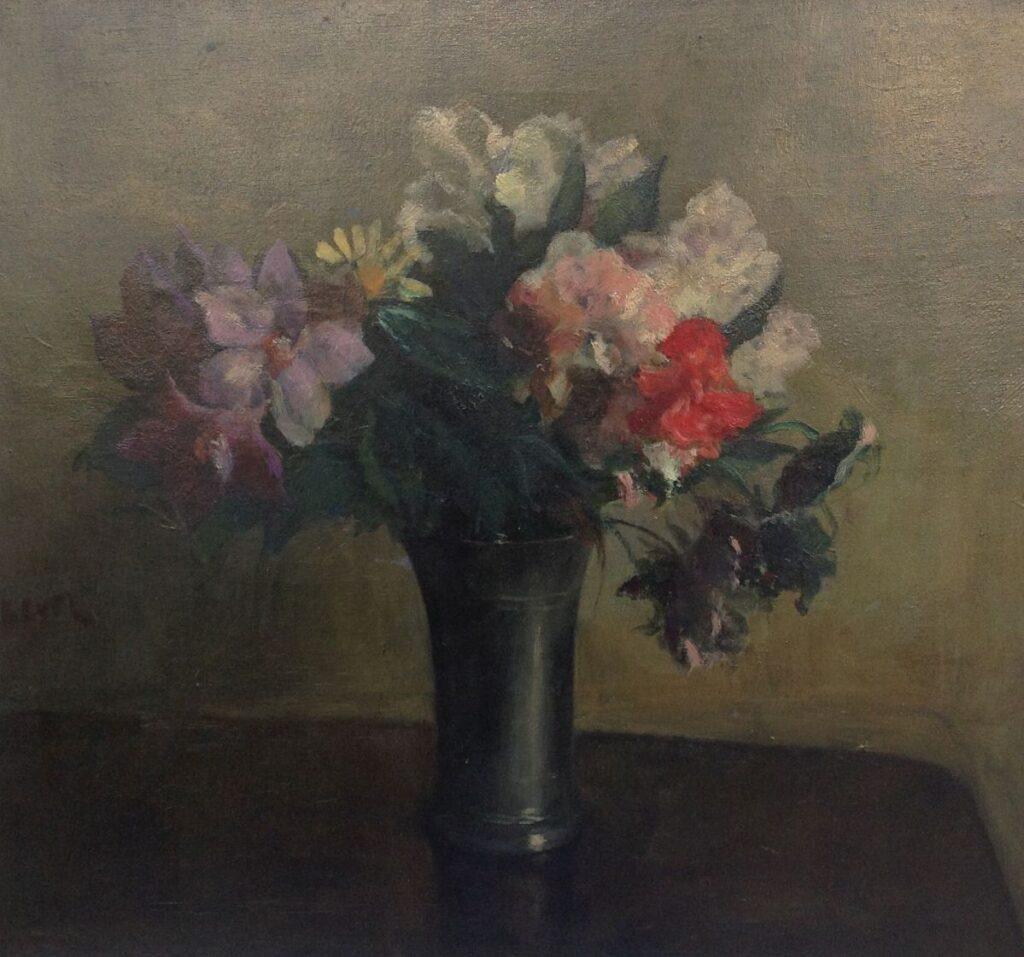 Kunstenaar J.S.H. Kever A9664, J.S.H. Kever Bloemstilleven, olie op doek 45 x 50 cm