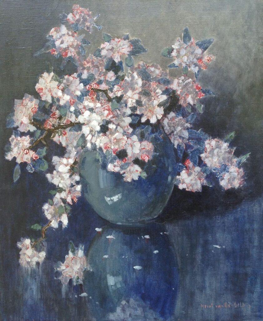 Schilderijen te koop van kunstschilder Henri van Os Delhez bloemstilleven olie op doek, doekmaat 60 x 50 cm rechtsonder gesigneerd, Expositie Galerie Wijdemeren Breukeleveen