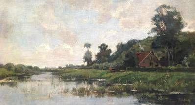 Kunstenaar Theophile de Bock A9666, Theophile de Bock Landschap Olie op paneel, 33 x 60 cm verkocht