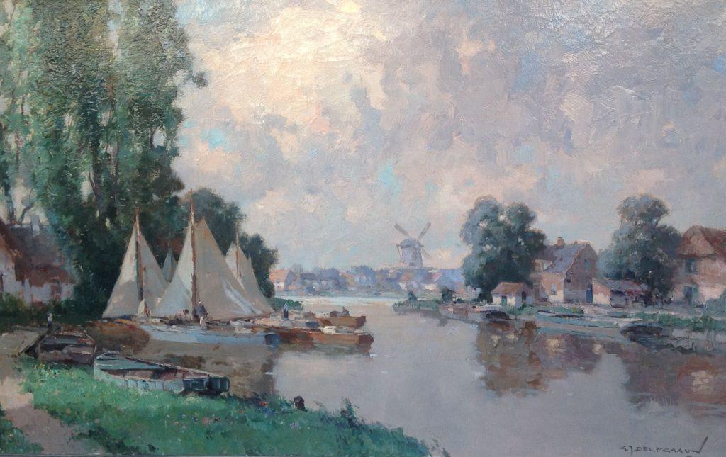 Schilderijen te koop van kunstschilder G.J. Delfgaauw zeilbootjes aan de rivierkade olie op doek, doekmaat 50,5 x 80,5 cm rechtsonder gesigneerd, Expositie Galerie Wijdemeren Breukeleveen